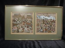 """2 MERLE REIVICH SERIGRAPH MARKETPLACE MEXICAN 13"""" X 21 7/8"""" PAINTING ART"""
