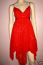 WOMENS SEXY RED SPARKLY SEQUIN SPECIAL OCCASION EVENING PARTY DRESS size 10-12