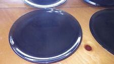 "Blue Glass Salad Plates Dessert Plates Round Serving Plates 6 7 3/4"" diameter"