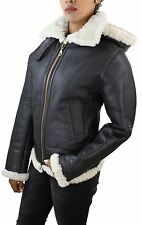 Ladies Aviator White Brown Women's Hooded Shearling Sheepskin Leather Jacket