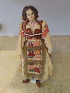 "Early Antique 12.5""  Polish Poland Cloth Cultural Ethnic Doll 1930 Handmade"
