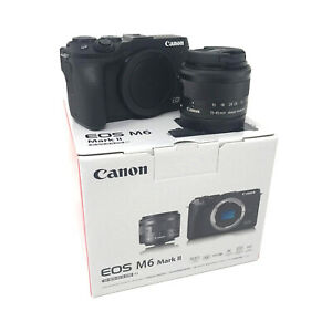 Canon M6 Mark II Mirrorless Digital Camera + 15-45mm lens Black UK NEXT DAY DEL