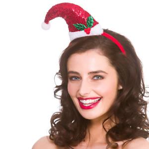 Paillettes Rouge Bonnet Père Noël Bandeau Fête Déguisement Fantaisie Accessoire