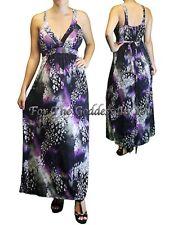 D125 PURPLE VIOLET GRAY EMPIRE WAIST MAXI DRESS WOMENS PLUS SIZE ~ 1X 14/16