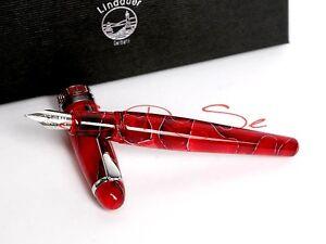Lindauer Füller rot marmoriert silberne Verzierung Neu M-Feder