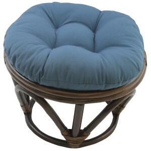 International Caravan Rattan Footstool with Twill Cushion, Aqua Blue New
