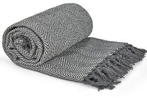 100% Cotton Herringbone Silver Grey Fringed Tassel Bed Chair Sofa Medium Throw