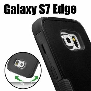For Samsung Galaxy S7 Edge - HARD&SOFT HYBRID HIGH IMPACT CASE COVER BLACK ARMOR