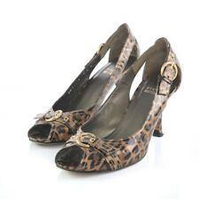 Stuart Weitzman Brown Leopard Print Peep Toe Pumps Heels Womens 7.5 M