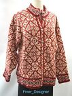 LL Bean Wool mix Fair Isle Nordic ugly Christmas sweater cardigan red L NEW VTG