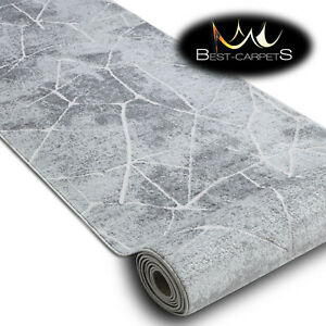 """Modern Hall Runner structural """"MEFE"""" marble stone grey 60-200cm extra long RUGS"""