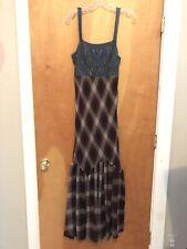 FREE PEOPLE Denim Plaid Flannel Maxi Dress Corset 2