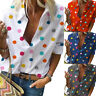 Womens Multi-color Polka Dot Casual Summer T Shirt Tops Lapel Blouse Plus Size