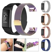 For Fitbit Charge 3 /SE Wristband Metal Milanese Magnetic Loop Watch Band Strap
