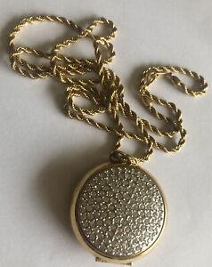 Vintage 80s Long Locket Rhinestone Chunky Huge Statement  Gold Twist Necklace