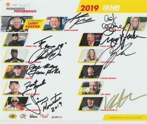 2019 Leah Pritchett + Antron Brown + Matt Hagan signed Shell SEMA NHRA postcard