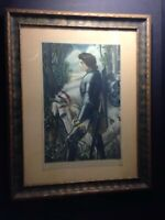 Antique Old George Frederick Watts Sir Galahad Knight Print in Wood Frame Art