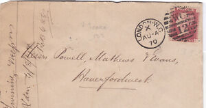 1870 QV LONDON TO WALES COVER WITH A 1d PENNY RED STAMP SCARCE PL 133 99p START!