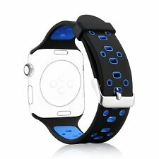 42mm Replacement Strap Wristband Apple Watch Sport Silicone Band Black+Blue New
