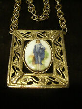 Blue Boy by Gainsborough Framed Art Necklace Vintage 1960-70's