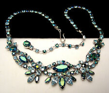 "Rare Vtg 16""x1"" Signed Sherman Rhodium Plated Blue AB Rhinestone Necklace A8"