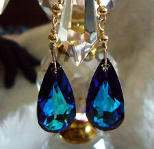 Bridal 14K Gold Bermuda Blue BB Teardrop Sw Crystal Earrings Color Anting Emas