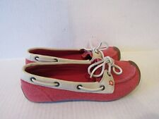 4c99db7f14b KEEN CATALINA Women's Red Canvas/leather trim Lace-up Boat Shoes 1008616 US  6.5