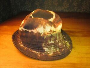 VNTG J.CREW Bucket Hat Cotton Brown TIE DYED distinctive odd cool light weight