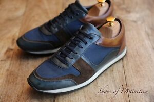 Men's Russell & Bromley Blue Brown Leather Canvas Suede Shoes UK 8 US 9 EU 42
