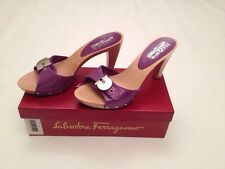 New w Box Authentic Salvatore Ferragamo Anyone Leather Heels Purple Women 9.5 US