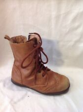 Girls Andanines Brown Leather Boots Size 27