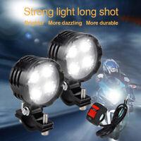 2X 40W Motorcycle 4 LED Spot Light Headlight Fog Driving Lamp Lights + Switch UK