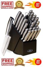 22 Piece High-Carbon Collection Cutlery Knife Block Set Stainless Steel Brushed