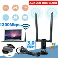 1200Mbps Long Range AC1200 Dual Band 5GHz Wireless USB3.0 WiFi Adapter Antennas~