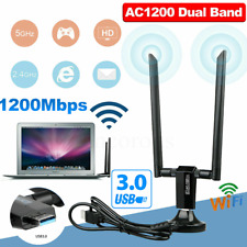 1200Mbps Long Range AC1200 Dual Band 5GHz Wireless USB3.0 WiFi Adapter Antennas~