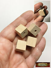 "M01494 MOREZMORE HPA 4 Wooden 1/2"" Cube Bead Cubes 1/8"" Hole Unfinished Wood"