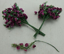 24 DELIGHTFUL WIRED PICK PURPLE FLOWERS,FREE pp>FLORAL ARRANGERS,CRAFTS,FLORIST