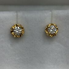 18ct 18k Yellow Gold Stud Earrings 2 x 15 Point Natural Diamonds | Brand New