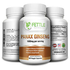 Pure Panax Ginseng 1000mg per serving 180 Veggie Capsules Supplement