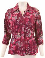 LEE Womens Corduroy Shirt 3/4 Sleeve Size 18 XL Multicoloured Floral  LM13