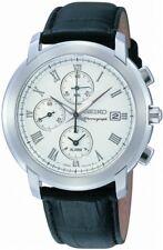 Seiko mens watches chronograph alarm date brown strap silver tone case  SNAC27P1