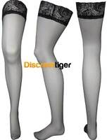 Stunning Womens Nylon Black Stockings Hosiery with Detailed Lace Elastic Tops