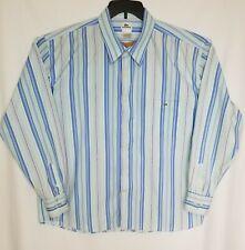 Lacoste Men's Shirt Button Front Long Sleeve Striped Multicolor Blue Size XL?
