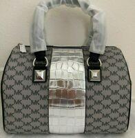 NWT Michael Kors Grayson Medium Chain Satchel Bag $348 Black/Silver Original Pac