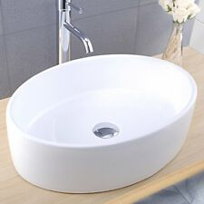 Oval Countertop Basin Ceramic Washbowl Bathroom Rounded Sink 0TH 500 x 360mm
