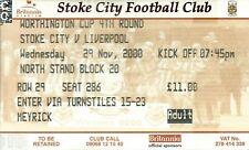 STOKE CITY V LIVERPOOL 2000/01 WORTHINGTON CUP 4TH RND MATCH TICKET - 29/11/2000