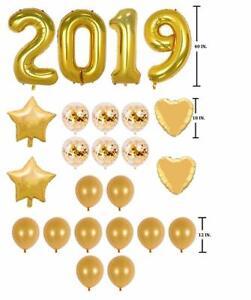 "Gold Mylar Foil Number Balloons 40"" 2019 Anniversary Graduation Birthday Decor"