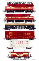 "Wisconsin Central Train 11""x17"" Railroad Poster by Andy Fletcher signed"