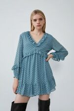Zara Blue Polka Dot Ruffle Mini Dress, size XXL