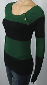 Ralph Lauren Black Green Striped Ribbed Sweater Gold Buttons NWT